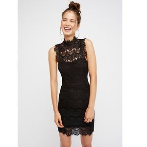 Free People daydream lace Black bodycon Dress M